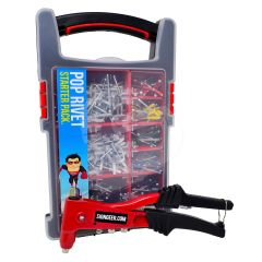 Heavy Duty Pop Riveter Full Starter Kit Including 420 Colour Headed Rivets
