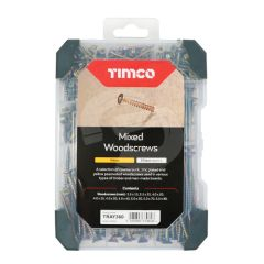 TIMCO Mixed Yellow Woodscrews Starter Pack - 340 Pieces